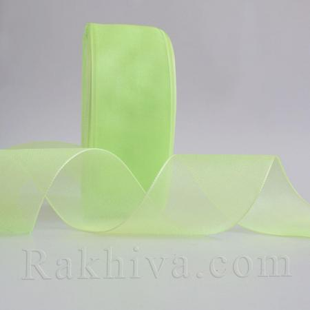 Organza ribbons, lime green (25 mm/ 50Y) (25/50/2261)